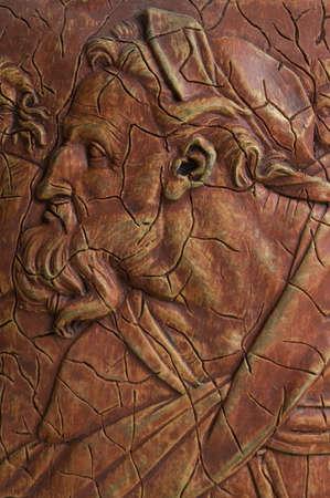 Profeta bíblico lleno de sabiduría y conocimiento. Esta impresión es una reproducción del profeta Ezequiel, originalmente pintado por Miguel Angel entre 1508 y 1512 para el techo de la Capilla Sixtina.  Foto de archivo - 1305633