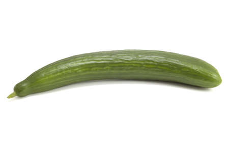 unsliced: A fresh uncut cucumber on white background Stock Photo