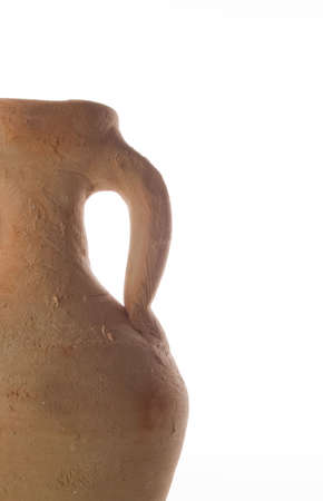 which: Ancient pottery which was the most common method of transporting goods such as wine in ancient times. Isolated on white.