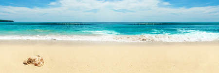 beach panorama: Panorama of snow-white beach. Bali