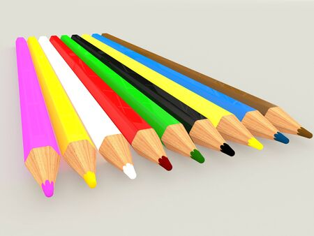 Colorful pencils, isolated on grey background. 3D rendering illustration. Stock Photo
