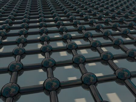 refelction: Abstract balls and grid for wallpaper or background