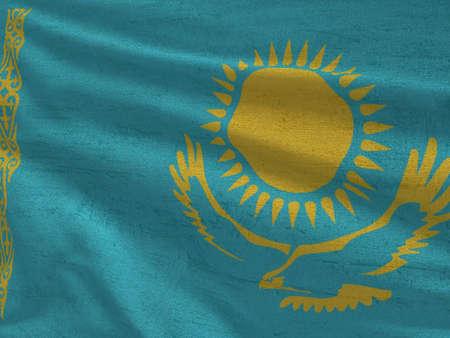 Fabric texture flag of Kazahstan.