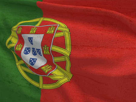 Fabric texture flag of Portugal.