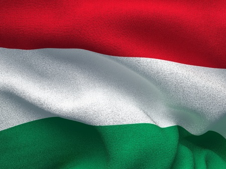 Texture of a fabric with the image of the flag of Hungary, waving in the wind.