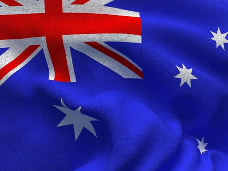 Texture of a fabric with the image of the flag of Australia, waving in the wind. Stock Photo