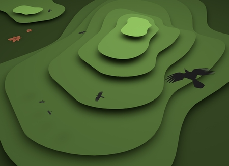 Mountains landscape. Flat design illustration. 3D render. Stock fotó