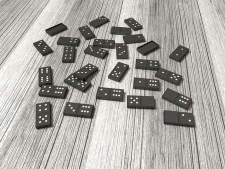 Playing dominoes on a wooden table. Dominoes game concept. 3D render illustration.