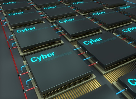 Chip, microelectronics, cyber technology, 3d render illustration.