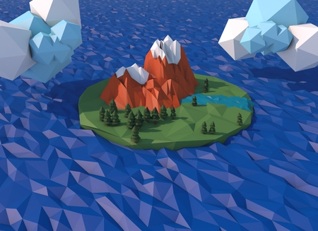 Beautiful island with clouds. Low poly 3D render. Illustration of a landscape with mountains of trees and a river.