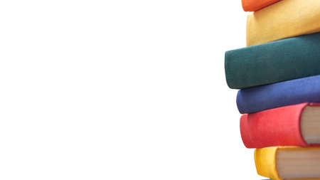 Stack of bright colors on white background. Isolated. Education and back to school concept.