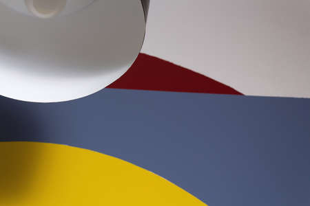 Minimalism in the interior. Color stripes in color block style and black lampshade. 60s and Geometry. Standard-Bild