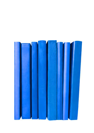 Dark blue book covers and spines isolated on white. Education and school concept. Bookshelf filling.