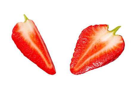 Juicy, Fresh ripe red dropped strawberry isolated on white. Different angle. Close up.