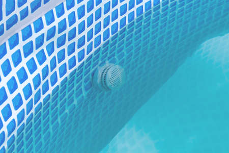Swimming pool pipe technology. Country pool filtration. Portable small chlorine pool filter. Фото со стока