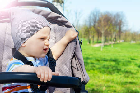 Adorable happy caucasian baby boy doesnt wont to seat in grey stroller in park. Summer day. Child is strapped in stroller during the walk. Standard-Bild
