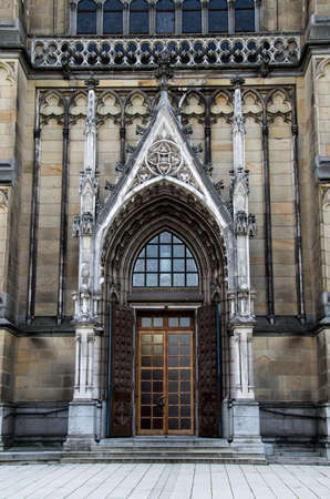 Main Door of the neo-gothic Neuer Dom (New Cathedral) in Linz, Upper Austria photo