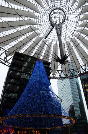 Berlin, Germany - November 22, 2012  Christmas lights at the Sony Center at Potsdamer Platz  The Sony Center was designed by Helmut Jahn and is one of the top architectural landmarks in Berlin   Stock Photo - 22201643