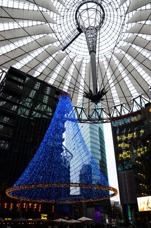 Berlin, Germany - November 22, 2012  Christmas lights at the Sony Center at Potsdamer Platz  The Sony Center was designed by Helmut Jahn and is one of the top architectural landmarks in Berlin   Stock Photo - 22201644