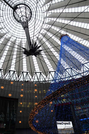 Berlin, Germany - November 22, 2012  Christmas lights at the Sony Center at Potsdamer Platz  The Sony Center was designed by Helmut Jahn and is one of the top architectural landmarks in Berlin   Stock Photo - 22201645