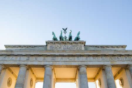 quadriga: Quadriga sculpture at the Brandenburger Tor in Berlin, Germany Stock Photo