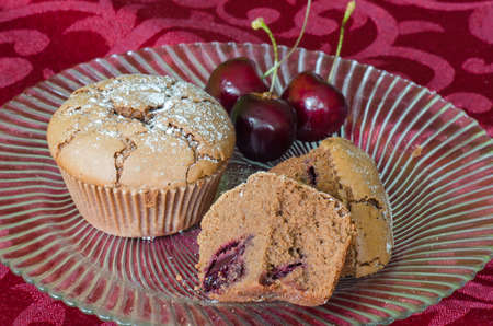 Chocolate and cherry muffins photo