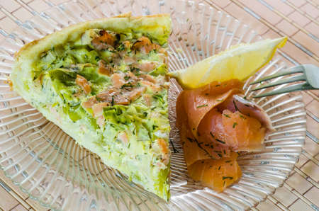 fresh food fish cake: Homemade leek and salmon quiche