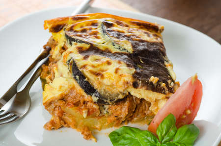 Close up on a dish of homemade moussaka photo