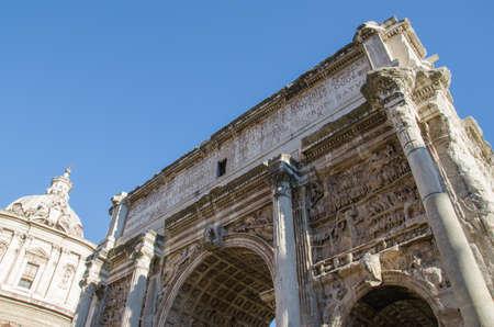 severus: Beautiful of the Arch of Septimius Severus in the Foro Romano, Rome Stock Photo