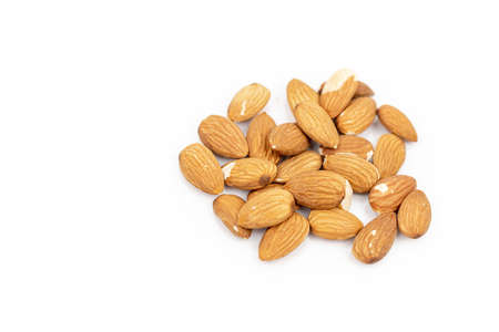 Raw Almonds Isolated Above White Background With Copy Space. 免版税图像