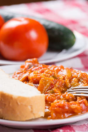 Thick tomato stew with rice and pepper. Banque d'images