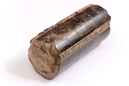 Brown pressed wood briquettes over white background.