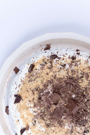 Top view of chocolate cake.