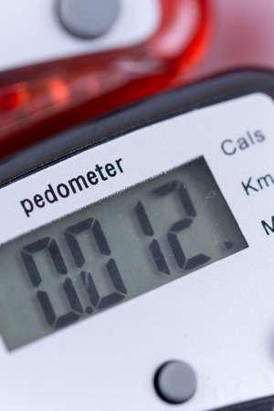 Close top view of digital pedometers.