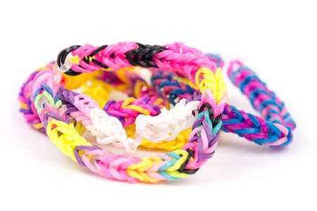 Colorful loom rubber bands with copy space Banque d'images