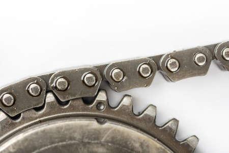 Macro closeup car timing chain oiled used Reklamní fotografie