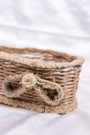 Woven retro rustic brown basket for flower decorations
