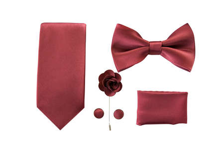 Set with tie bow tie cufflinks handkerchief and lapel isolated above white background