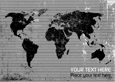 grungy header: Vector world map