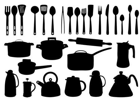 grungy header: Vector cooking equipment silhouettes Illustration