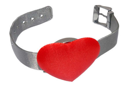 wristlet: Wristwatch with red heart instead of clock plate isolated on the white. Wristlet is open. Stock Photo