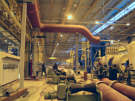 Big diameter steel pipes production in ferrous metallurgy work by roller machine photo
