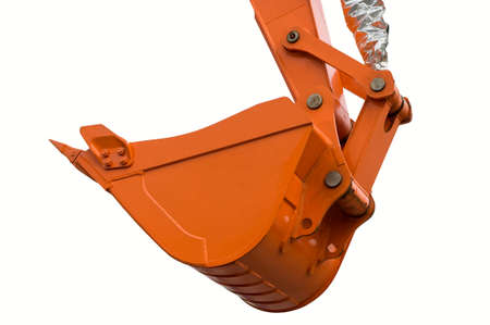filthy: Orange clear excavator bucket.