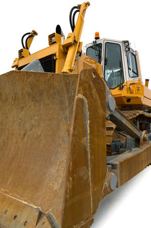 filthy: Yellow pushdozer with bulldozer blade isolated over white.