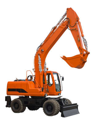 bulldoze: Orange wheel excavator.