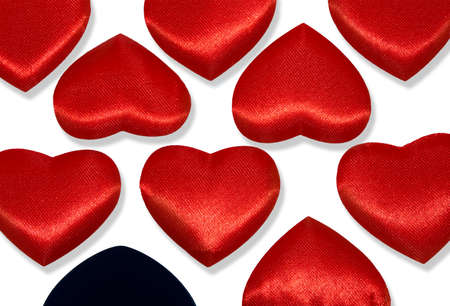 Rows of Red hearts and one black heart. photo