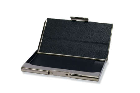 Steel shine business card holder is opened. Black inside surface. photo