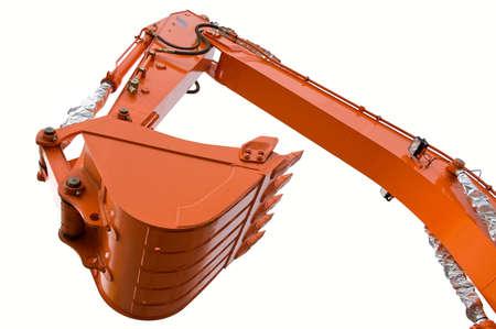 trencher: Orange clear excavator bucket beam. Close up. Stock Photo