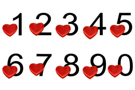 Black arabic numerals with red hearts isolated over white Stock Photo - 4815428