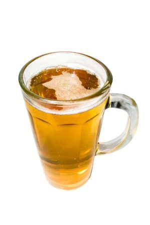 beerhouse: Beer mug, alchoholic beverage. Isolated over white background Stock Photo